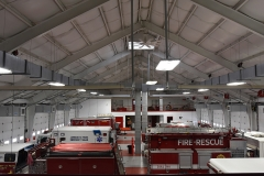 Elevated view of the inside of the fire house.